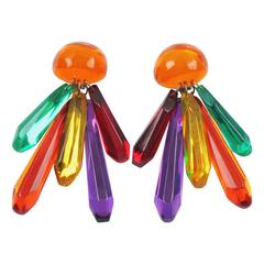 Chandelier Multicolor Lucite Clip on Earrings by Harriet Bauknight for Kaso