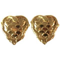 1980s Yves Saint Laurent Heart Earrings with Snakes Clip On Earrings