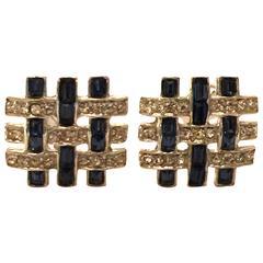 BOUCHER Geometric Rhodium Faux Sapphire and Diamond Interlocked Square Earrings