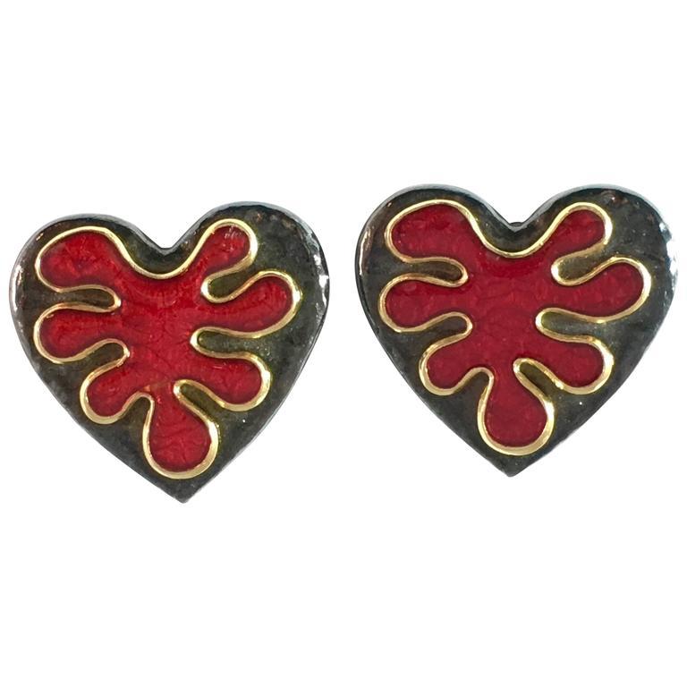 Yves Saint Laurent Black and Red Heart Clip-On Earrings