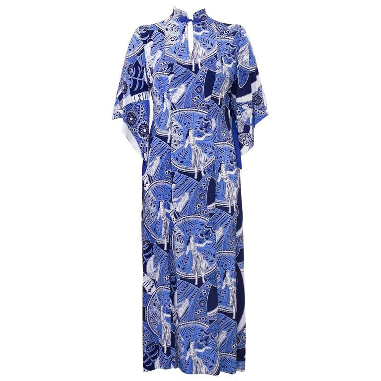 1940's Blue Hawaiian Print Rayon Hostess Gown   1