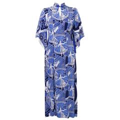 1940's Blue Hawaiian Print Rayon Hostess Gown