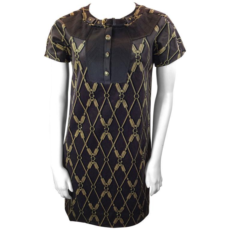 gucci brown velvet patterned dress for sale at 1stdibs