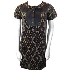 Gucci Brown Velvet Patterned Dress