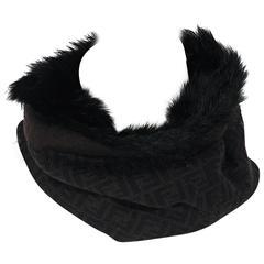 Black Fendi Zucca Infinity Fur Scarf