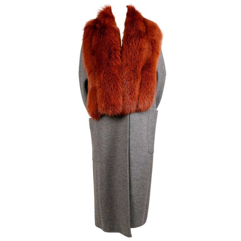 CELINE by PHOEBE PHILO gray wool silk and cashmere coat with dyed fox fur collar