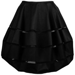 Azzedine Alaia polished cotton black bubble skirt with embroidered cut outs