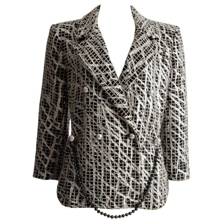 Chanel double breasted metallic silver evening jacket, SS 2012 For Sale