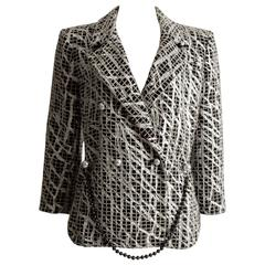 Chanel double breasted metallic silver evening jacket, SS 2012