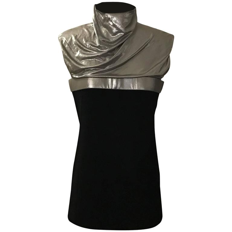 Paco Rabanne Black and Silver Metallic High Neck Sleeveless Top 1