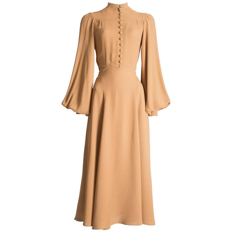 Ossie Clark caramel moss crepe mandarin collared dress, Circa 1970 For Sale