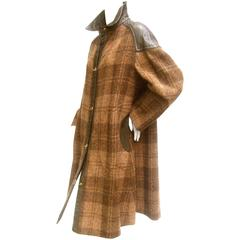 1970s Brown Plaid Leather Trim Wool Coat