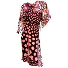 Diane Fres Pastel Print Blouse Skirt Ensemble c 1980s