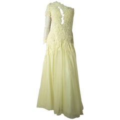 80s Yellow Lace Evening Gown