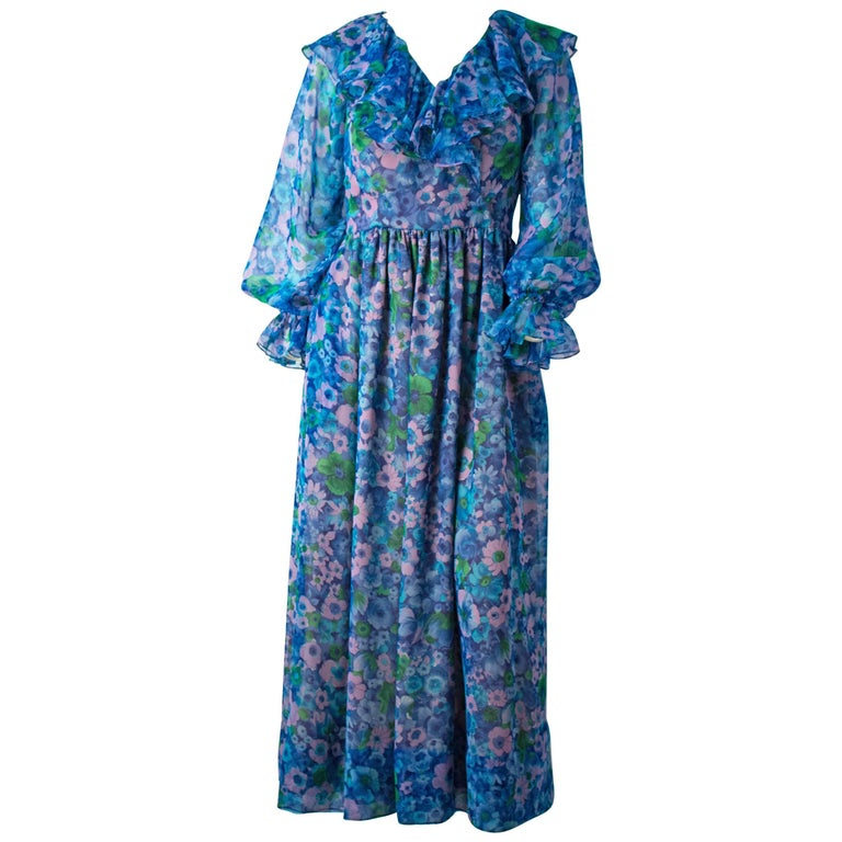 70s Blue Floral Vintage Chiffon Ruffle Dress For Sale