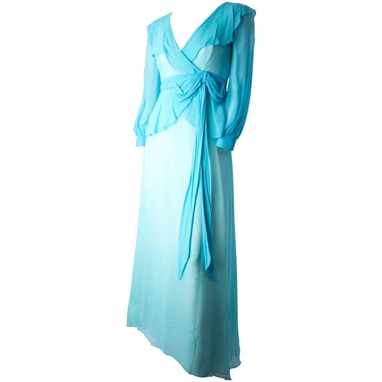 1960s Sky Blue Silk Chiffon Ruffle Dress