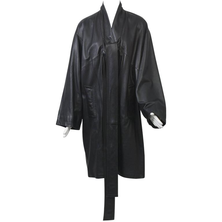 Gaultier Black Leather Coat For Sale