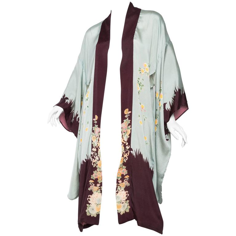 1920s Printed Silk Kimono For Sale