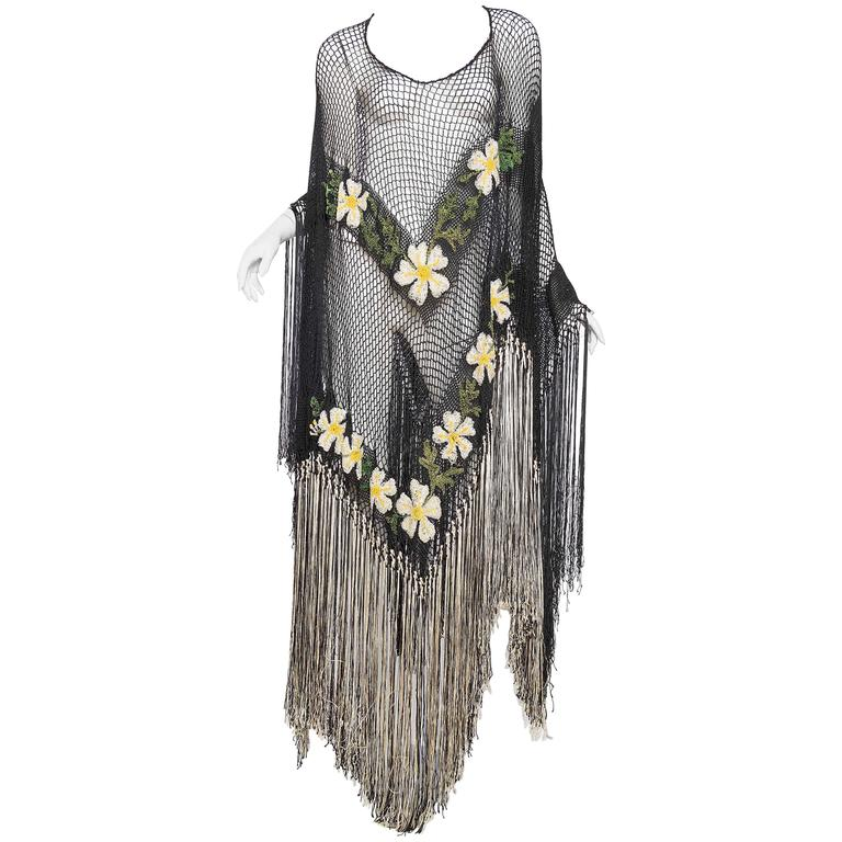 1930s Crochet Tunic with Long Fringe