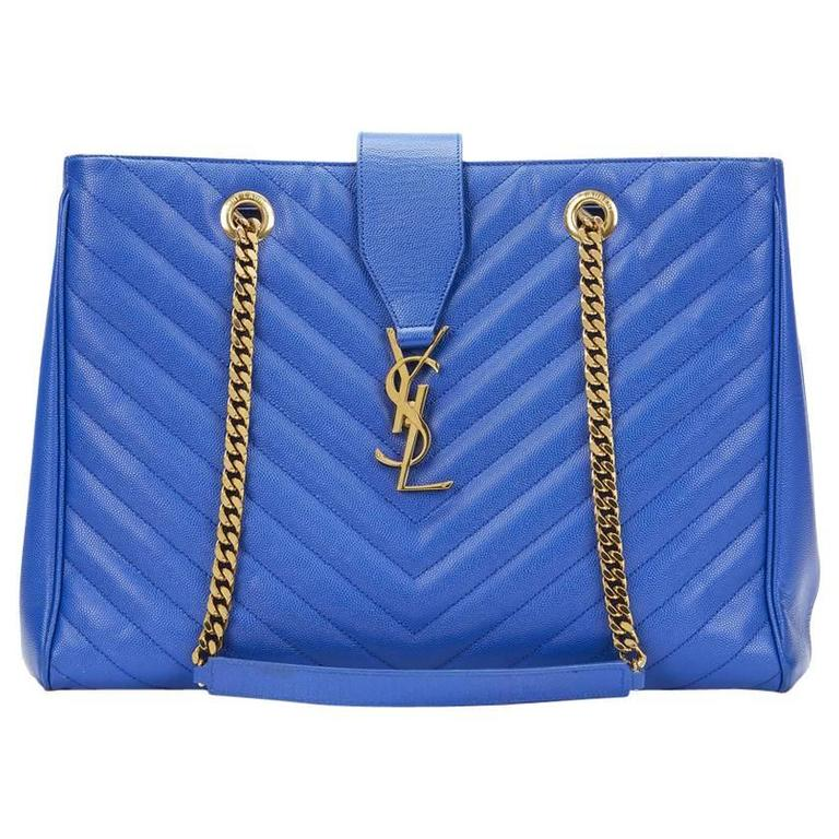 2014 Saint Laurent Electric Blue Textured Calfskin Large Monogram Tote For Sale