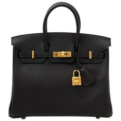 Brand New Hermes Birkin 25 Black Swift GHW