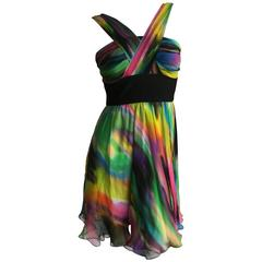 Dolce & Gabbana Psychedelic Tie Dye Silk Chiffon Mini Dress