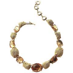 Yves Saint Laurent topaz and gilt necklace, c1980s
