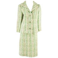 Bill Blass Vintage Green Tweed Skirt Suit - 8 - 1980's