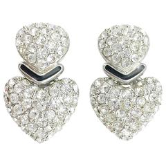 Dior Heart-Shaped and Chrystal-Embellished Earrings - Circa 1990's