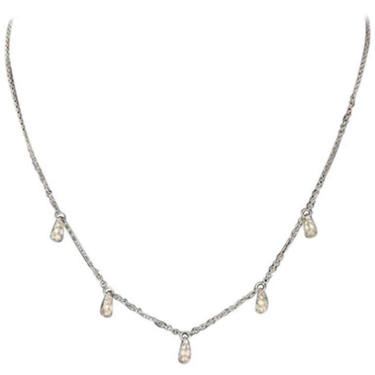 Tiffany & Co. Elsa Peretti Five Teardrop Diamond Platinum Chain Necklace For Sale