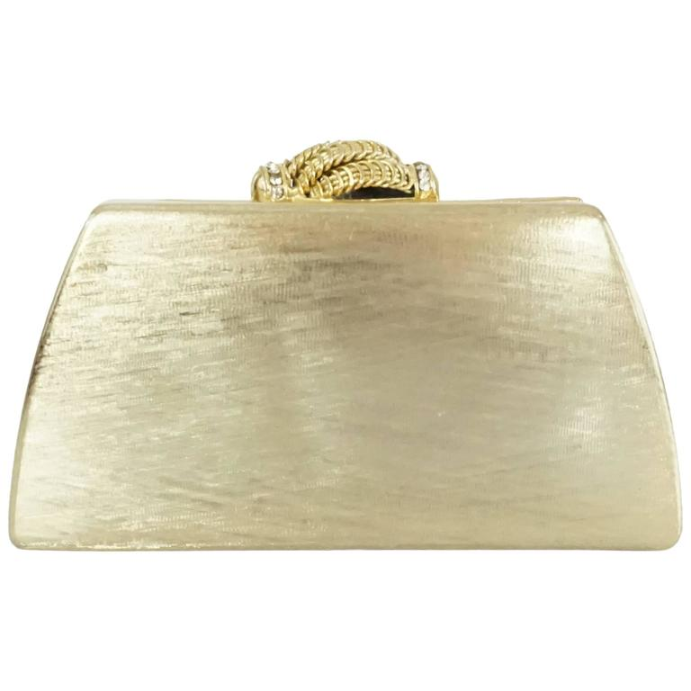 Rodo Vintage Gold Rhinestone Metal Clutch and Crossbody - 1980's  1