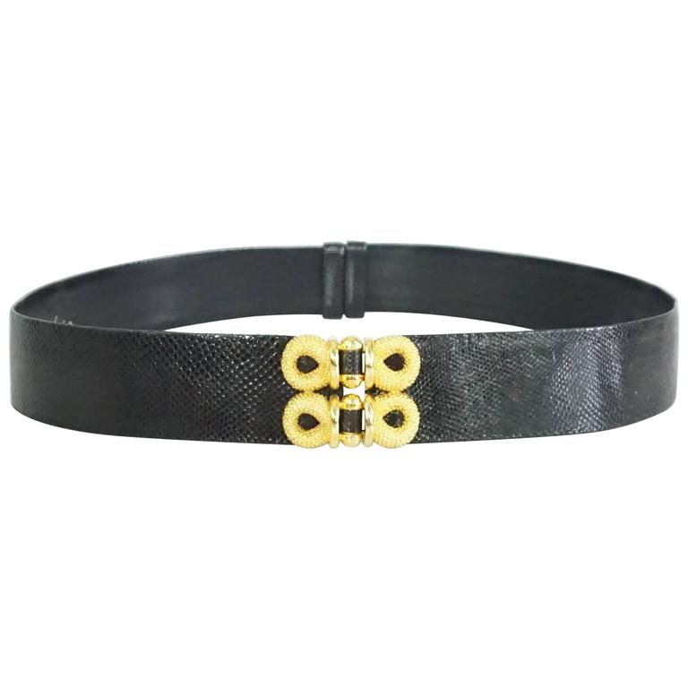 Judith Leiber Black Lizard Belt with Gold Front Detailing
