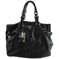 Prada Black Leather Shoulder Bag with Crossbody Strap and Charm - SHW -
