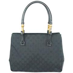 Gucci Black Monogram Bamboo Shoulder Bag