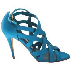 Manolo Blahnik Blue Satin Strappy Heel