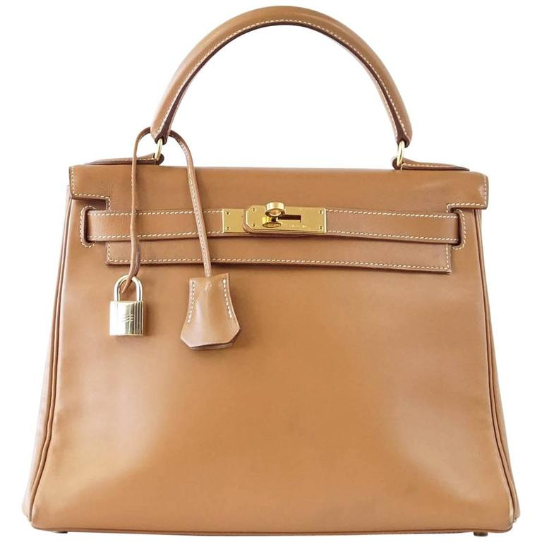 8ff30a1fdc78 HERMES KELLY 28 Bag Gold Rare Chamonix Leather Gold Hardware Vintage Beauty  For Sale