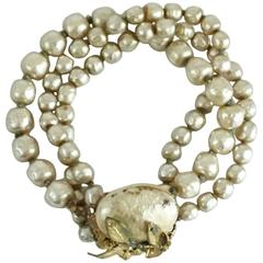 Miriam Haskell Cream Pearl Triple Strand Bracelet - 1950's