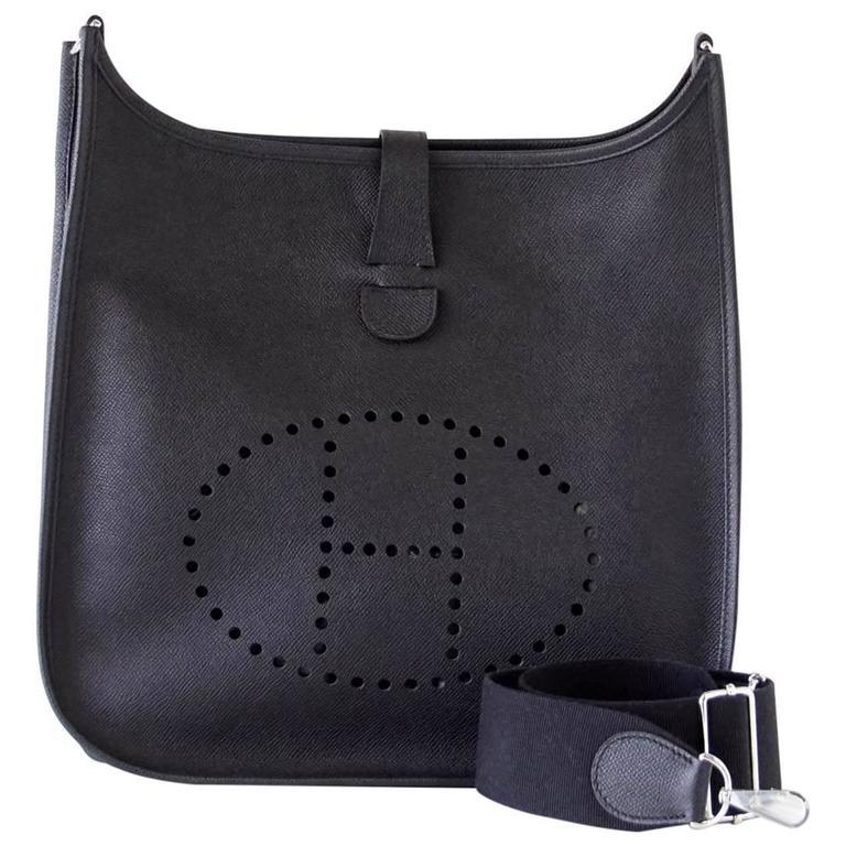 8c17ea00edb8 HERMES Bag Evelyne lll GM Black Epsom Supple Leather Palladium at 1stdibs