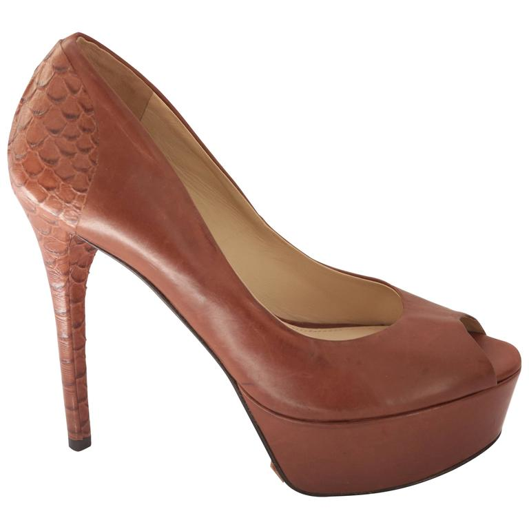 B Brian Atwood Blayne Brown Pump Embossed Snakeskin Sculptual Heel For Sale