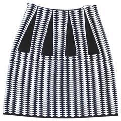 """New Alaia Black and White Geometric Jacquard Knit """"Droite"""" Pencil Skirt 38 uk 6"""