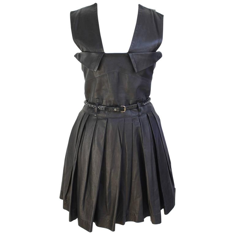 New £1190 Preen Line Simone black pleated leather dress M ...