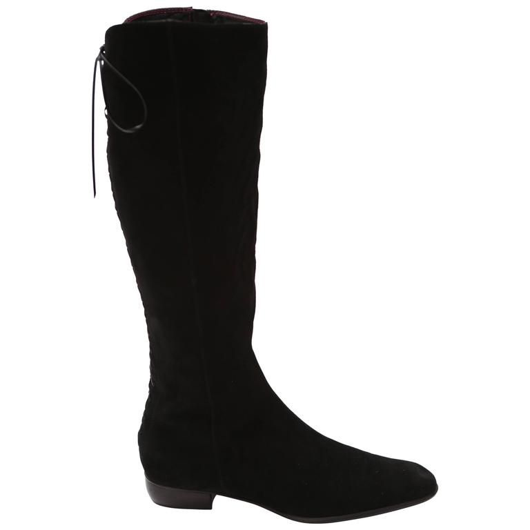custom black suede knee length lace up boot at 1stdibs