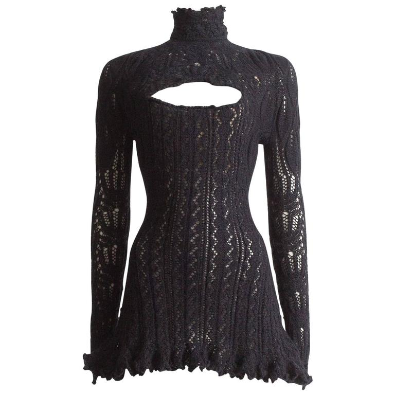Vivienne Westwood corseted crochet knit mini dress, AW 1993