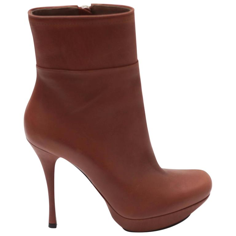 Lanvin Brown Leather Bootie