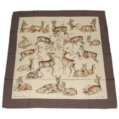 Hermes Silk Scarf Les Biches Xavier de Poret Hind Deer Etoupe 90 cm