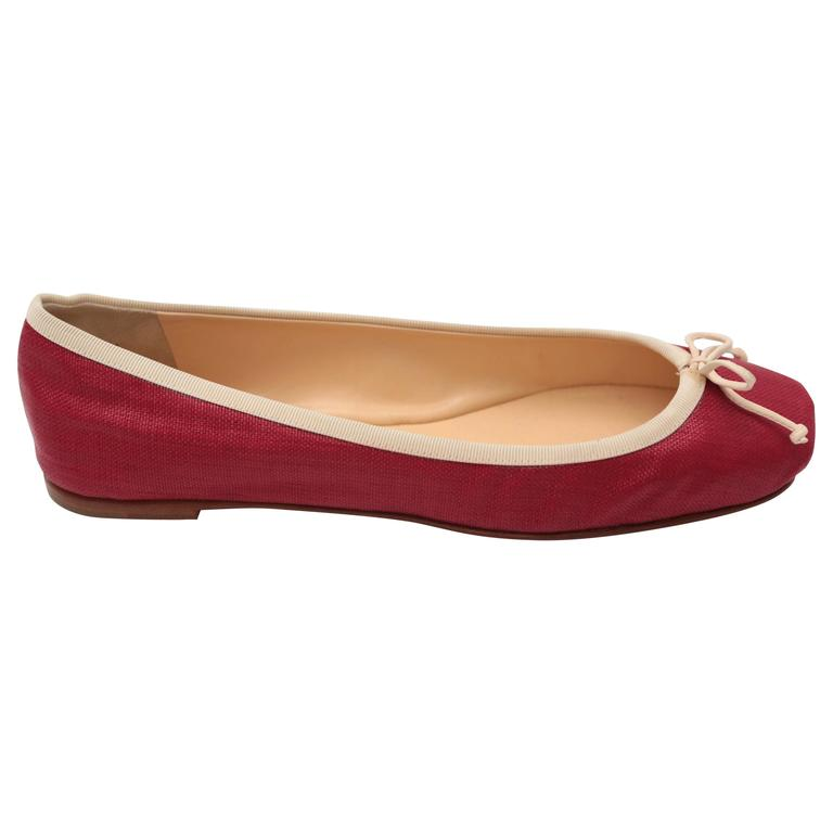 Christian Louboutin Rougue Linen Flats with White Piping