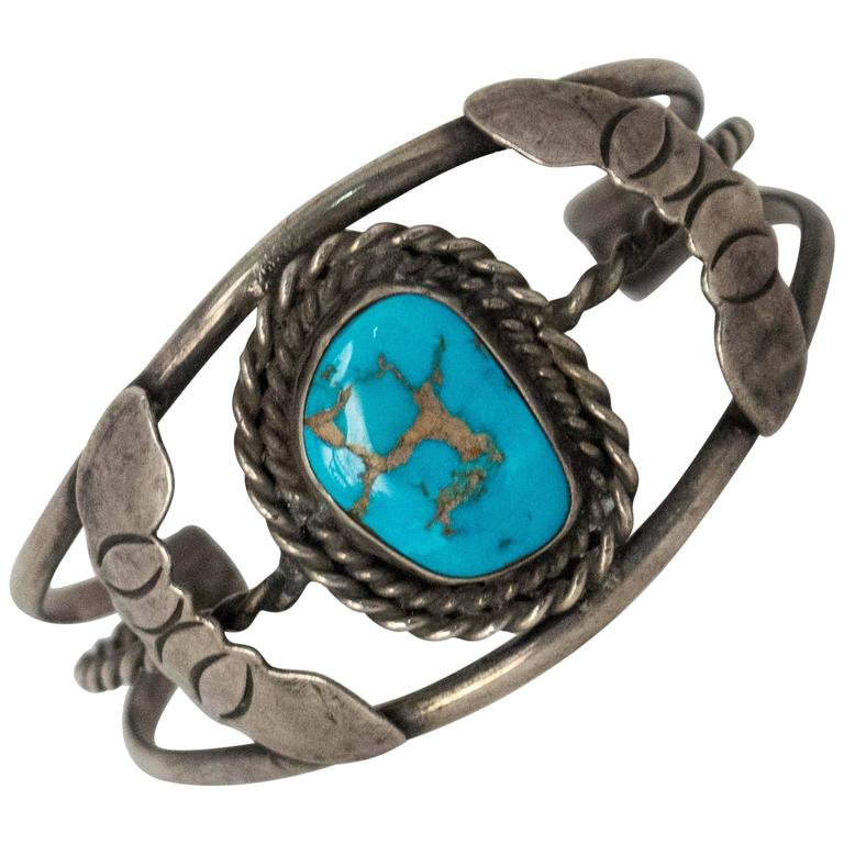 50s Turquoise Silver Bracelet  For Sale