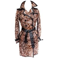 Burberry Brown Abstract Print Rabbit Fur Leather Trench Coat UK 8