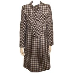 Vintage 1960s Style Pauline Trigere Navy and White Check Coat