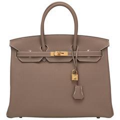 Hermes Etoupe Togo Leather 35cm Gold Hardware Birkin Bag